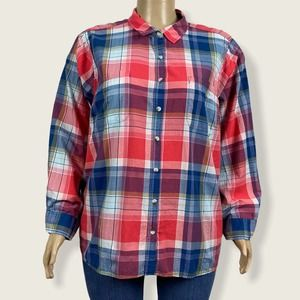 Sonoma Red Blue Plaid Button Up Everyday Shirt 3X